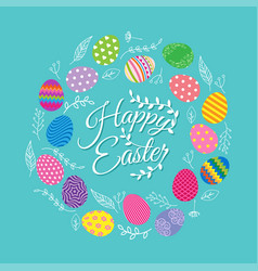 colorful eggs with flowers for easter day vector image