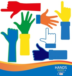 Colorful hands vector image