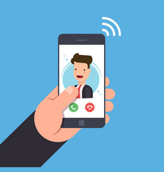Concept of an incoming call on a mobile phone vector