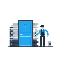 Construction worker by brick wall with spatula vector