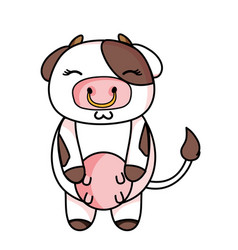 Cute and shy cow wild animal vector