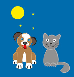 dog and cat moonlit night vector image