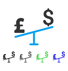 Dollar pound swing flat icon vector