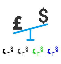 dollar pound swing flat icon vector image