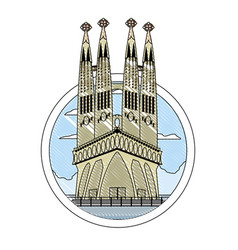Doodle sagrada familia tower in barcelona and vector