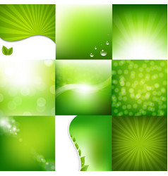 Eco green posters set vector
