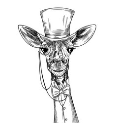 Elegant giraffe with monocle dressed in suite vector