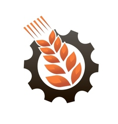Emblem representing industry and agriculture vector