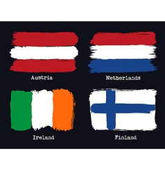 European grunge flags Flags of Austria Netherland vector image