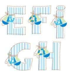Fabric patchwork alhabet Letter E F G H I vector image