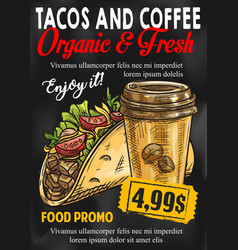 Fast food tacos coffee price sketch poster vector