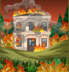 Fire destroy mansion background vector