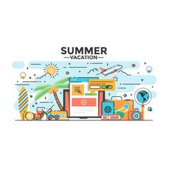 Flat line design hero image - summer vacation vector