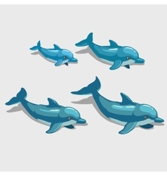 Four cartoon Dolphin character for your design vector image