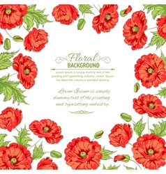 frame with wreath poppies isolated on white vector image