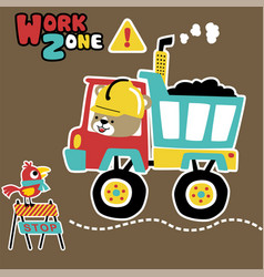 Funny animals cartoon work time with coal truck vector