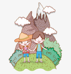 Girl and boy in mountain with wanderlust vector