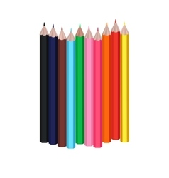 Group colorful pencils isolated objects vector
