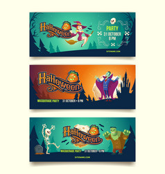 halloween party cartoon invitation banners vector image