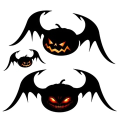 halloween pumpkins with wings vector image