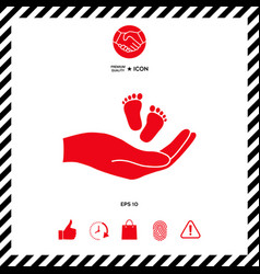 hands holding baby foot vector image