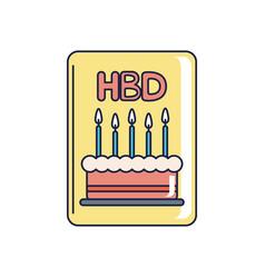 happy birthday invitation card calke candles vector image
