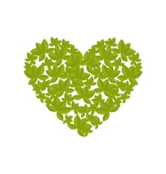 Icon leaf heart recycle environment isolated vector