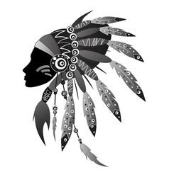 Indian girl with chief headdress vector