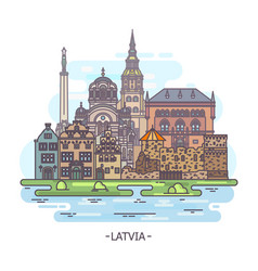 latvian architecture buildings or latvia landmarks vector image