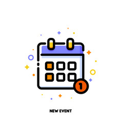 Line icon of calendar for new event concept vector