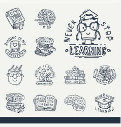 Love reading motivation quote phrases badge logo vector