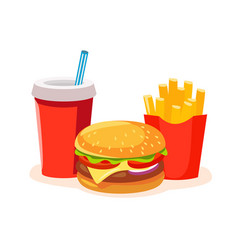 Lunch with french fries soda and burger vector