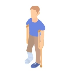Man with crutches and a plaster on broken leg icon vector image