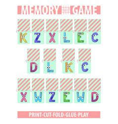 Memory card game letters alphabet printable a4 vector