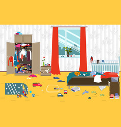 Messy room where young family with little baby vector