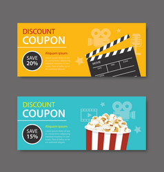 Movie coupon flat design vector