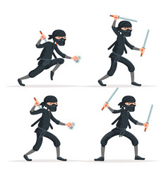 Ninja japanese secret assassin sword character set vector