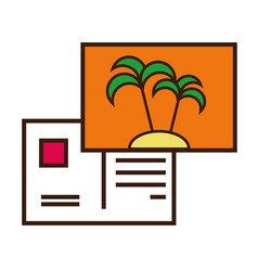 Palm tree letter summer season line and fill vector