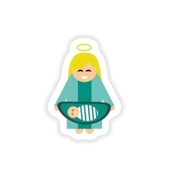 Paper sticker on white background virgin mary and vector