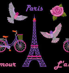 paris embroidery seamless pattern vector image