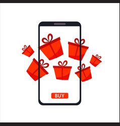 phone gadget with red gifts presents concept of vector image