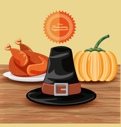 Pilgrim hat with turkey and pumpkin of vector