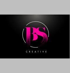 Pink bs brush stroke letter logo design vector
