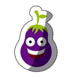 purple kawaii happy eggplant icon vector image