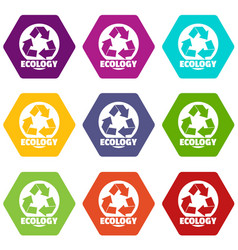 recycling icons set 9 vector image