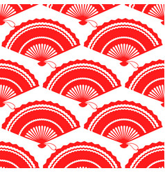 Red fan seamless pattern design vector