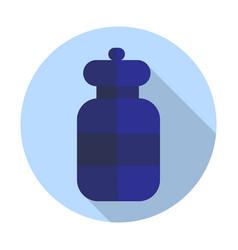 Round bottle icon flat vector