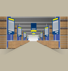 rows of shelves filled with closed boxes vector image