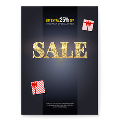 sale ad poster with golden glittering text sales vector image