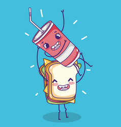 Sandwich with soda kawaii cartoon vector